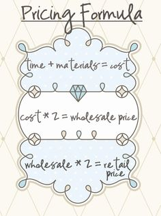 A pricing formula for selling crafts and other products. Determine costs, wholesale and retail prices. For etsy and craft store owners and small business startup owners and beginners who want to get ahead of the competition. La Petite Boutique, A Boutique, Couture Boutique, Boutique Clothing, Mobile Boutique, Custom Clothing, Craft Projects, Sewing Projects, Projects To Try