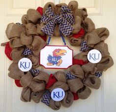 KU University of Kansas Jayhawk Burlap Wreath by Toobes on Etsy, $60.00