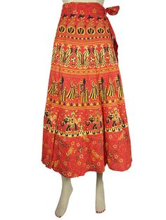 Boho Cotton Long Wrap Around Skirt Orange Black Sarong Print Gypsy Skirt 34"