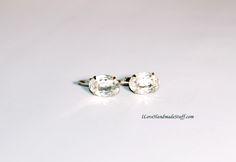 V0009 - Vintage Clip Earrings - Silver Tone Clear Rhinestone