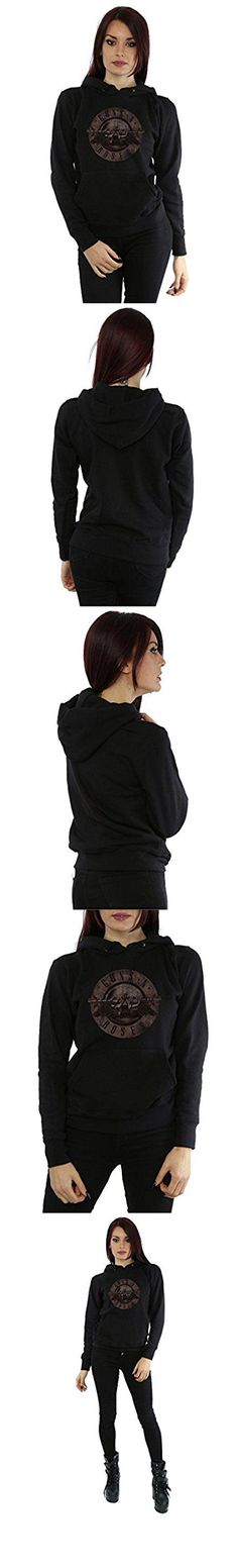 Guns N Roses Women's Sepia Bullet Logo Hoodie X-Small Black. Officially licensed merchandise with all authorised licensor branding, packaging and labelling. 280gsm heavy-weight garment, perfect for keeping warm. Double fabric hood, self coloured flat draw cord and front pocket pouch. Shaped side seams for a more feminine fit.. Please check your sizing to avoid disappointment. Our size X-Small is the equivalent of a UK size 6, Small is 8, Medium is 10, Large is 12, X-Large