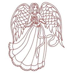 Sweet Heirloom Embroidery Design: Redwork Floral Angel 3.80 inches H x 3.10 inches W
