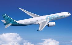 Download wallpapers Airbus A330neo, new passenger plane, air travel concepts, plane in the sky, Airbus