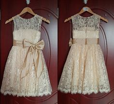 2015 champagne Baby Girl Princess Flower Girl Dress Flower Girl Dress 1-14 Years