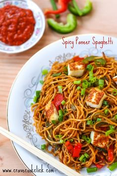 Spaghetti with paneer and homemade chinese tomato sauce. Spicy, tasty and unique ! Thanks to my friend Rricha for the recipe:) Ingredients 2 packs of spaghetti Paneer cubes chopped in square 1 cap...