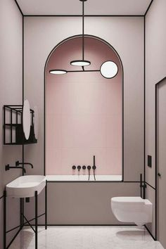 Blush + Black Lines Bathroom Decor. @ouranak