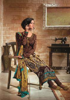 $58.38 Brown Printed Embroidered Long Pakistani Salwar Suit 22568