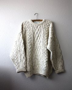 fisherman sweater...perfect when paired with broad shoulders.