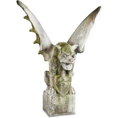 Large gargoyle on block pedestal. The classical bulldog here in a large-size perfect for your garden or outdoor deck area. Made from both fiberglass and fiber stone and designed for outdoor use in year-round weather. Several finish choices to pick from on this gargoyle statue.