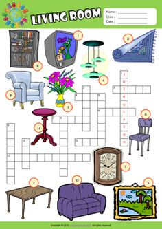 In my house furniture vocabulary criss cross crossword for Living room vocabulary