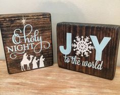 Fall Christmas reversible wood block set Fall by CoastalCraftyMama