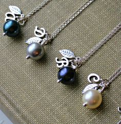 Personalized Initial Swarovski Pearl Necklace bridesmaid Jewelry Sterling Silver Leaf  Mother of the Bride