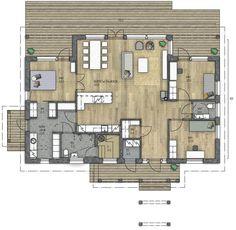 HARMAJA 135 B - Kannustalo House Layouts, Future House, Beautiful Homes, Architecture Design, House Plans, Sweet Home, Floor Plans, Cottage, Flooring