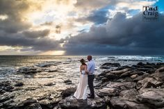 It's almost sunset on Maui, Hawaii with this wonderful couple who had a vow renewal. Photo by www.TadCraigPhotography.com