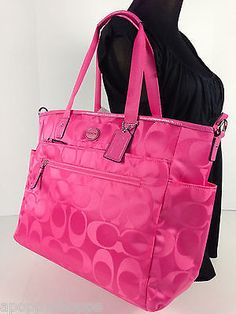 NWT COACH Hot Pink Signature Nylon Baby Diaper Bag Tote Changing Pad F77577 NEW