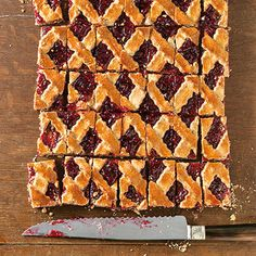 Linzer Slices (A Baker's Tour, Switzerland) uses 1 cup blanched almonds, lemon zest, 6 oz almond paste, cup raspberry preserves. Jam Recipes, Almond Recipes, German Baking, Buttery Shortbread Cookies, Holiday Cookie Recipes, Chocolate Hazelnut, Food Cakes, Christmas Baking, Cake Cookies