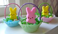 Mini Easter baskets with cupcake liners peep peeps and gift bag handles