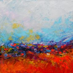 "Abstract Landscape 'The Horizon has been Defeated' - acrylic painting on canvas - size 30cm x 30cm (12"" x 12"")"