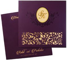 Shop these stunning invitation cards with astonishing laser cut panel and customizable gold foiled couple initials now at www.regalcards.com