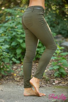 Moving Forward Belted Jeans Olive - The Pink Lily