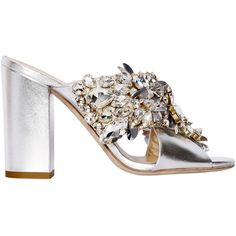 Gedebe Women 100mm Crystal Metallic Leather Sandals (€810) ❤ liked on Polyvore featuring shoes, sandals, heels, silver, high heel sandals, genuine leather shoes, metallic shoes, leather shoes and leather sandals