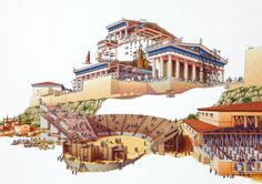 Exploded view of the Acropolis in Athens by Stephen Biesty Ancient Rome, Ancient Greece, Ancient Art, Ancient History, Plans Architecture, Ancient Greek Architecture, Historical Architecture, Gothic Architecture, Exploded View