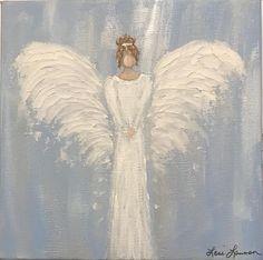 Custom Original Angel Painting on 8 x 8 wide canvas - Malerei Photo Canvas, Canvas Art, Angel Artwork, Angel Paintings, Angel Drawing, Angel Decor, Angel Pictures, Art Original, Learn To Paint