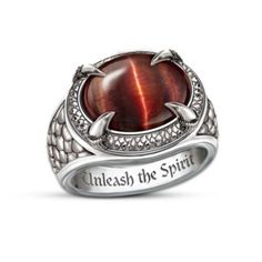 Men's Dragon Eye Stainless Steel Ring With Tiger's Eye Stone