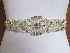 Bridal Applique Pearl Belt for Wedding Dress Crystal Rhinestone Applique Belt for Dridal DIY Wedding Bridal Sash *** You can get additional details at the image link.