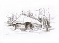 Original Drawing. Pencil. Village landscape. by ArtLotStudio