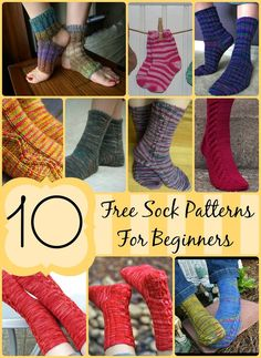 10 FREE Sock Patterns for Beginners! Easy patterns to make your way into the wo… 10 FREE Sock Patterns for Beginners! Easy patterns to make your way into the world of sock knitting. Knitting Patterns Free, Knit Patterns, Easy Patterns, Sock Loom Patterns, Simple Pattern, Knitted Socks Free Pattern, Crochet Slippers, Knit Or Crochet, Easy Crochet Socks