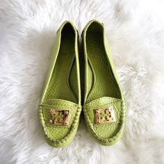 Lime Green Tory Burch Loafers These Tory Burch Loafer Flats will add an electric pop of color to any outfit! They feature pebbled leather, gold TB logos on front, gold rivet details, and a padded footbed. Worn twice but has slight imperfections from being stored, see pics 2-3 for details. Will be shipped in a Tory Burch shoe box. No trades please. Tory Burch Shoes Flats & Loafers