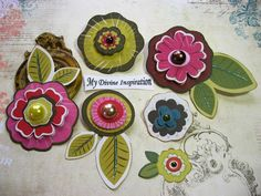 Fall Shabby Chic Paper Flowers and Paper Embellishments for Scrapbook Layouts Cards Mini Albums Tags and Papercrafts