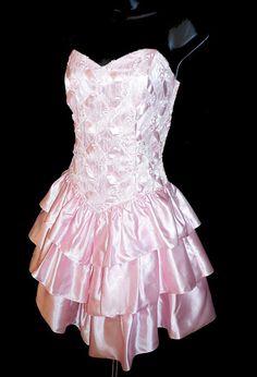 Vintage PINK PARTY DRESS 1980's Satin Prom by lovespyvintage