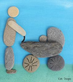 Shore Things by Kate Dengra MADE TO ORDER - this is made to order therefore it can be made specifically for you - the one in the photo I actually Pebble Mosaic, Pebble Art, Stone Crafts, Rock Crafts, Mago Tattoo, Beach Rock Art, Box Frame Art, Wood Craft Patterns, The Family Stone