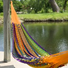 Exactly what we have been looking for.  Tried to buy a similar one in Belize. Have to have it. XXL Hand Woven Multicolored Thick String Hammock $89.98