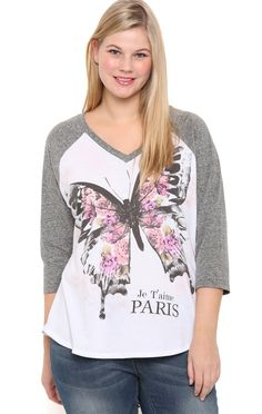 Plus Size Raglan Baseball Top with Butterfly Paris Screen