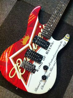 Budweiser King of Beers electric guitar. Play or nice deco piece? Http://www.benniesfifties.com