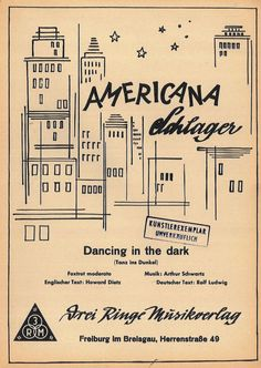 ARTHUR SCHWARTZ - DANCING IN THE DARK - FOXTROT ENGL. U DEUTSCHER TEXT MUSIKNOTE