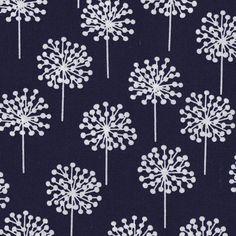 Blomma navy/white  Scandinavian Cotton Fabric  by berlinsupplies, €8.60