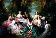 Franz Xaver Winterhalter (1805–1873) L'impératrice Eugénie entourée de ses dames d'honneur _ (from center to right)_#marquise de Montebello(green suit)Adrienne de Villeneuve-Bargemon*1826-70wife of gener Gustaf Lannes Count Montebello)+ #vicomtesse de Lezay-Marnésia+#la baronne de Pierres+#1.Dame la princesse d'Essling+#Empress Eugenie de Montijo+#Pauline Marie duchesse de Bassano+#la baronne de Malaret(yellow suit)+#Emilia MacDonell Marquesa de las Marismas del Guadalquivir, casada con…