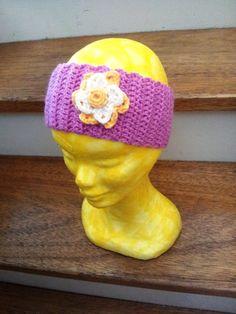Girls pink hair band crochet flower headband by GrannyJack on Etsy, $24.00