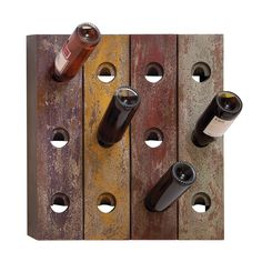 Casa Cortes Aged Multi-color Wall Mount 12-nottle Wine Rack