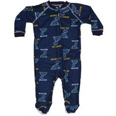 Infant St. Louis Blues Royal Blue All Over Raglan Coverall