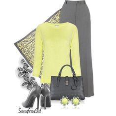 """""""Gray & Yellow"""" by sassafrasgal on Polyvore"""