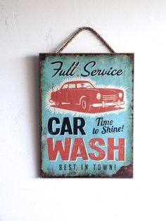 Car Wash SIgn, Full Service, Vintage Style Wall Art, Retro Look, Wooden Sign