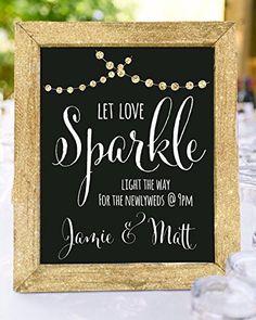 Let love sparkle, framed sparkler send off chalkboard wedding sign