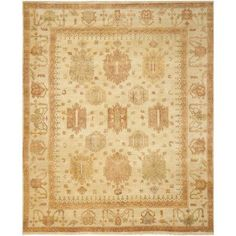 Safavieh Oushak Mansoura Hand Knotted Wool Ivory Area Rug Rug Size: Rectangle 8' x 10'
