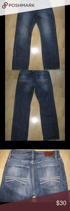 """Express Rocco Slim Thick Stitch Jeans Distressed thick stitch, straight leg jeans. In very good condition. 29.5"""" inseam. Has minor fraying on bottoms.                                                       Ask any questions! 📦Same/ Next Day Shipping 🚫Paypal/ Trades ✅Bundles 🚫Smoke Free Express Jeans Slim Straight"""