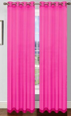 Bright Fuchsia Pink curtain with grommets are a great idea for your new windows. They are easy to install and easy to clean. A great new fun look.